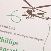Aboard- letterpress invitation with brown plane and green typography